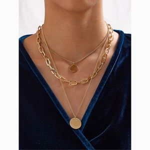 Disc Layered Chain Choker Statement Necklace